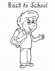 Back to school boy - Free Printable Coloring Pages