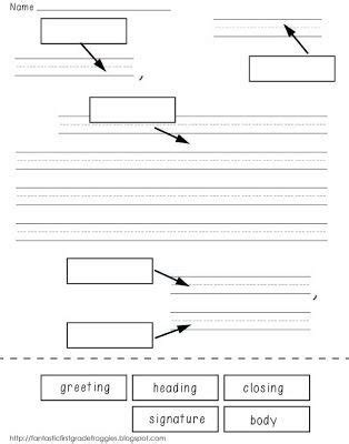 label parts   friendly letter freebie writing
