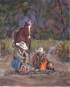 Campfire Cowboy Western Art Paintings