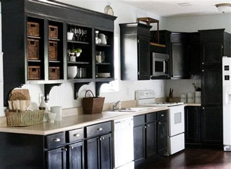 black painted kitchen cabinet ideas rustic black cabinet painting ideas with white appliances