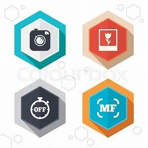 Hexagon Buttons  Hipster Retro Photo Camera Icon  Manual