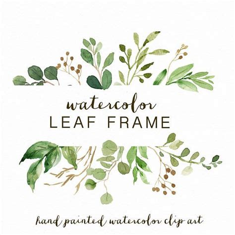 watercolor leaf frame leaves wedding invitation clipart