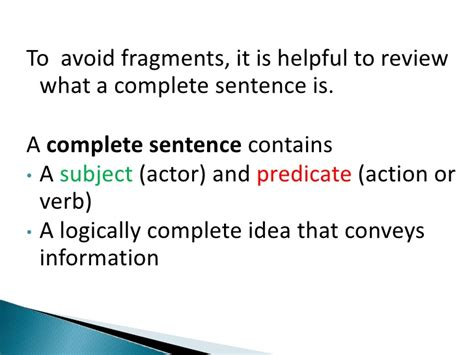 Avoiding Sentence Fragments