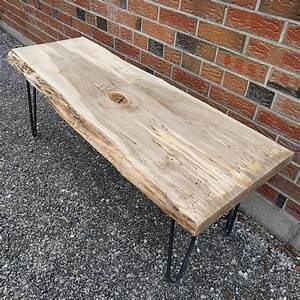 spalted maple live edge coffee table on hairpin legs by With maple live edge coffee table