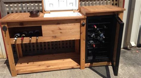 Rustic Wooden Cooler Table, Bar Cart, Wine Bar with Mini