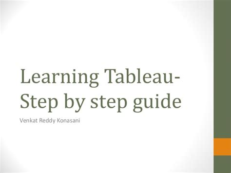 Learning Tableau  Data, Graphs, Filters, Dashboards And