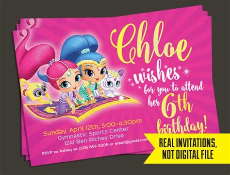 shimmer and shine invitation template free shimmer and shine invitation shimmer and shine birthday