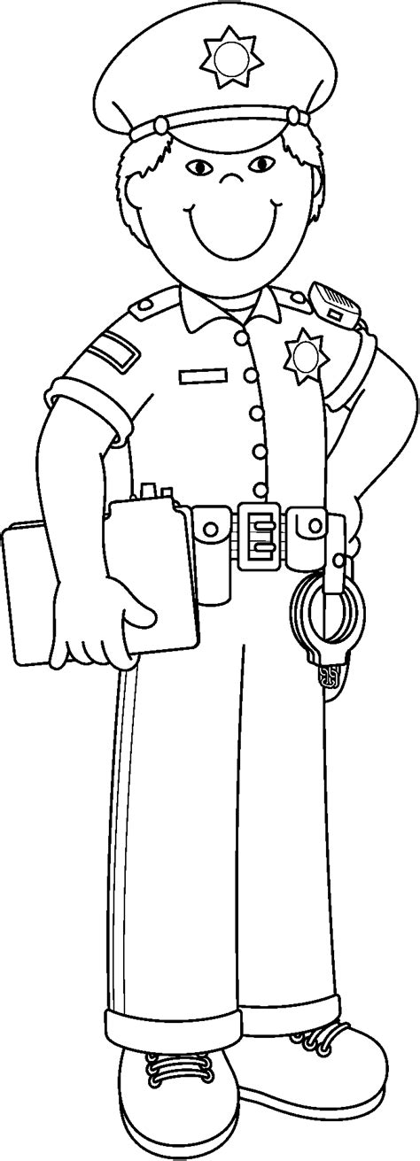 11418 community helpers clipart black and white policeman clipart black and white clipart station