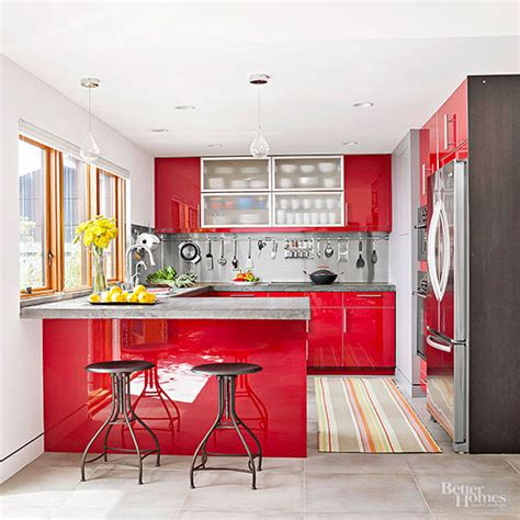 kitchen color schemes with wood cabinets red kitchen design ideas