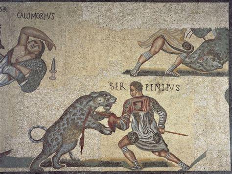 mosaic   gladiator fighting   death