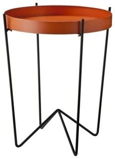 modern table ls target mod round metal tray table orange modern side tables