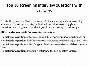 Top 10 screening interview questions with answers