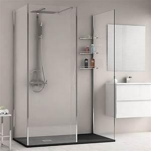 Cabine Douche 3 Parois Vitrées : paroi de douche fixe 140x80x203 cm ice screen ~ Premium-room.com Idées de Décoration