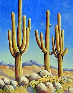 Saguaros cactus in the desert , original painting fine art ...