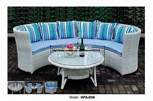 Modern half round sectional rattan sofa set coffee table for Sectional sofa round coffee table