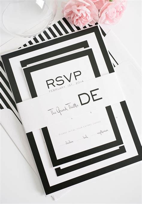 Modern Wedding Invitations in Black and White Wedding