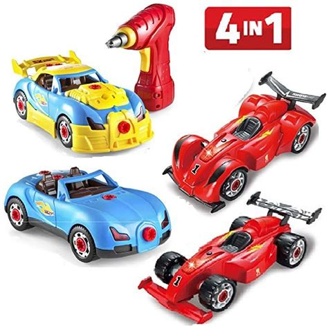 Prextex 4 In 1 Build Your Own Racer Car Set Stem Toy With