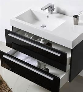 Meuble Salle De Bain 90 : meubles lave mains robinetteries meubles sdb meuble de salle de bain 90 cm milia 900 noir ~ Teatrodelosmanantiales.com Idées de Décoration