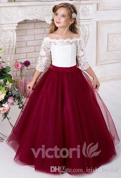 lace   sleeves tulle flower girl dresses vintage