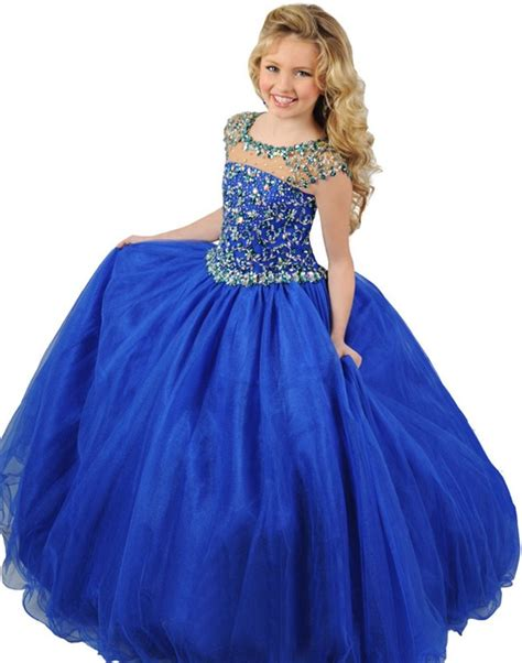 ball gown  neck cap sleeve royal blue tulle beaded