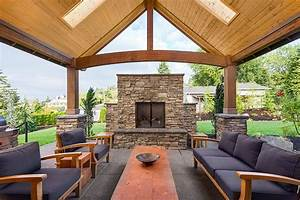 38 beautiful backyard pavilion ideas design pictures for Attractive patio stone fireplace designs