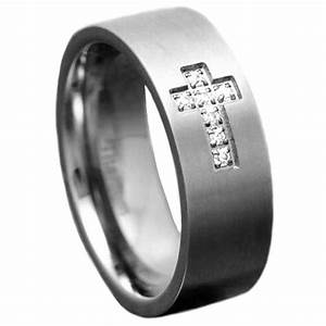 8mm titanium satin top cubic zirconia christian cross men With men s christian wedding rings