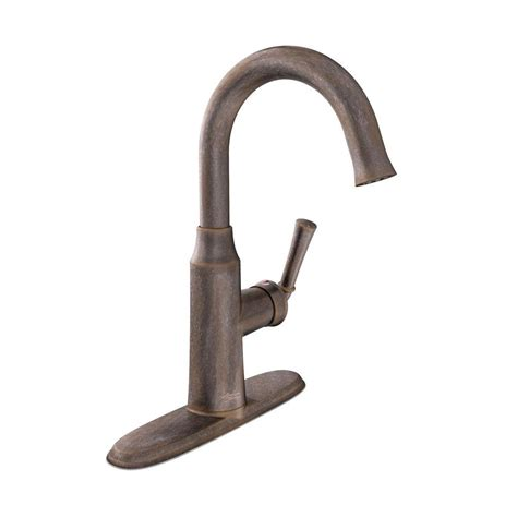 bar faucets rubbed bronze moen brantford single handle pull sprayer bar faucet