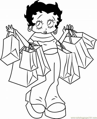 Coloring Betty Boop Pages Going Shopping Cartoon