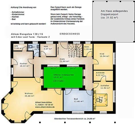 Bungalow Mit Innengarten by Atrium Bungalow 15 130 16 Variante 2 Grundriss Mit Erker