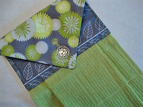 Kitchen Towel Fabric by Grey And Green Print Fabric Topper On A Green Hanging