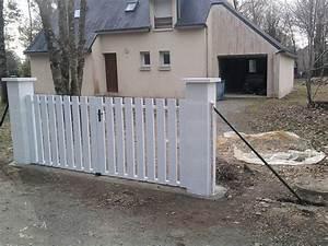 Poser Du Grillage : pr paration installation des piliers pose du portail du ~ Premium-room.com Idées de Décoration
