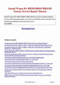 Suzuki Wagon R Rb310 Rb413 Rb413d Factory Service Repair Manual Pdf By Guang Hui