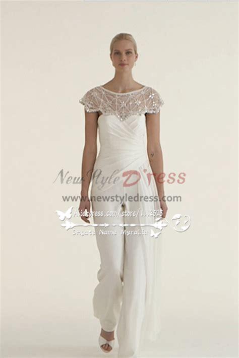 beautiful chiffon bridal jumpsuit wedding dresses
