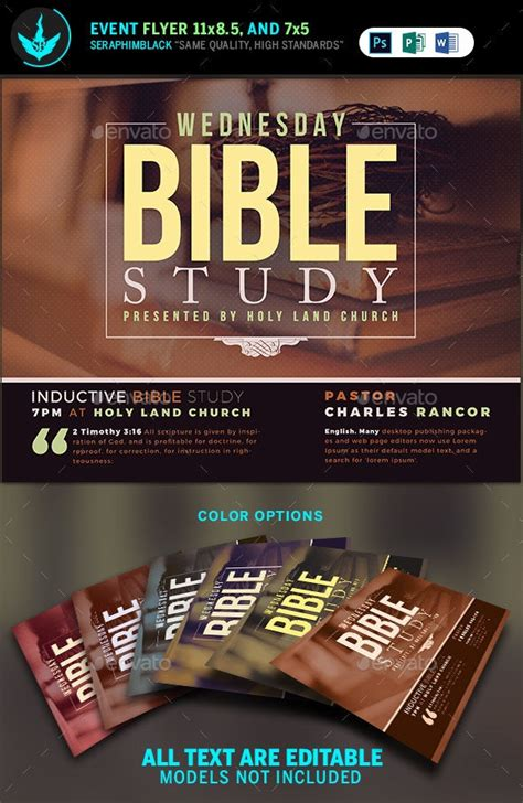 bible study church flyer template  seraphimblack