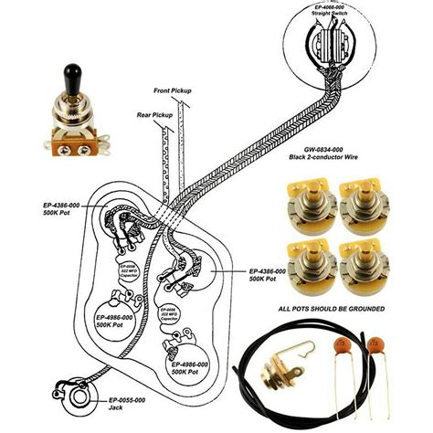 Epiphone Les Paul Wiring Kit With Diagram Ebay