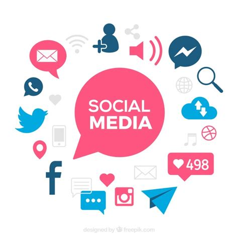 Social Media Background Social Media Background With Blue Details Vector Free
