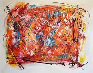 Tableau Contemporain Grand Format : grand tableau contemporain abstrait multicolore les ondes positives ~ Teatrodelosmanantiales.com Idées de Décoration