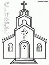 Church Coloring Pages Drawing Simple Catholic Altar Cross Printable Building Template Inside Sketch Methodist Drawings Easter Templates Popular Christian Paintingvalley sketch template