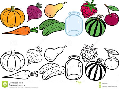 Coloring With Vegetables And Fruits Stock Vector