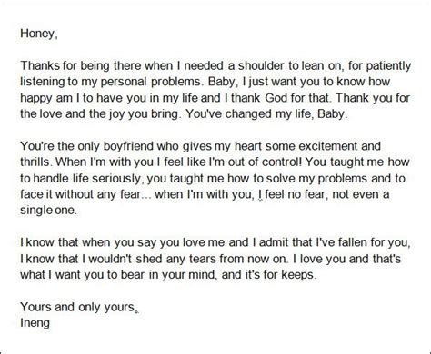 sample love letters  boyfriend   documents