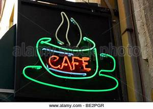 Coffee shop neon sign shot on black and white film Stock