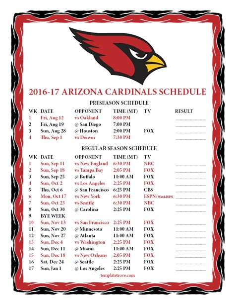 printable   arizona cardinals schedule
