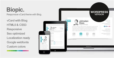 biopic responsive vcard wordpress theme  themebakers