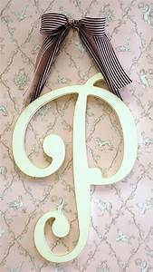 large wooden cursive wall letter for initial or monogram With cursive wooden letters for nursery
