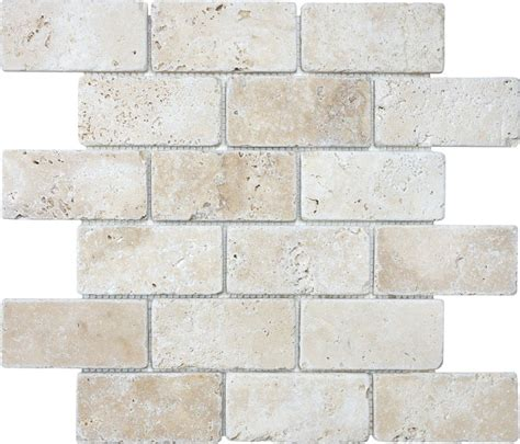 travertine brick anatolia 2 inch x 4 inch tumbled brick mosaic tile in ivory travertine the home depot canada