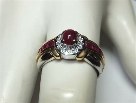Tdr Ring 14 by Genuine Ruby 14 Karat White Yellow Gold