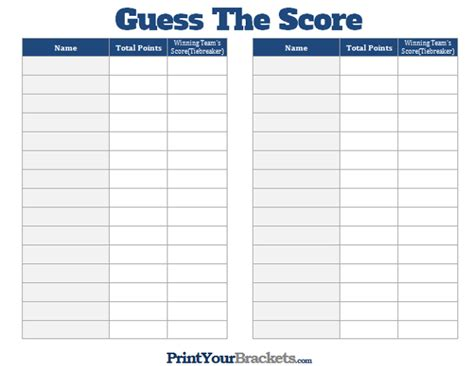 printable guess  score super bowl party game