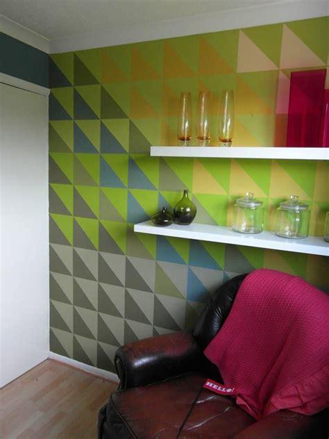 interior design inspiration geometric wall mural