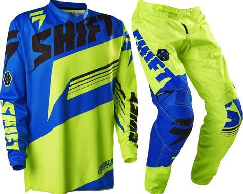 childrens motocross gear new shift youth mx gear assault yellow blue motocross kids