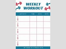 Red and Blue Workout Schedule Planner Templates by Canva